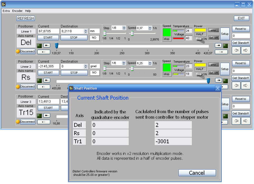 User interface for multi-axis motion controller